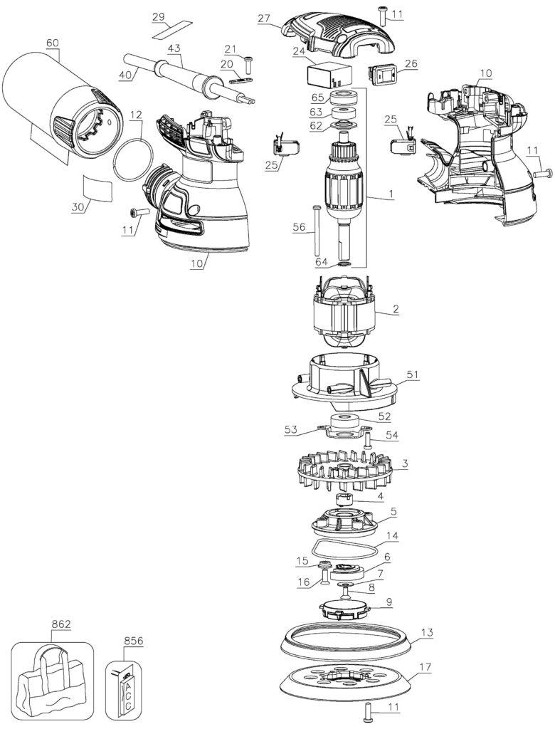 dewalt random orbital sander parts